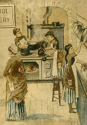 KITCHENS by the Decade - Scroll to the bottom and find kitchens from 1860-1910 that will provide you a list of the new things in their pantry, the new gadgets they could use, recipes of the time, etc.