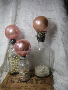 Pink vintage Christmas ornament altered art Bottles