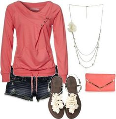 Top in coral color - love that its simple but not plain.  The shorts are too short for me though