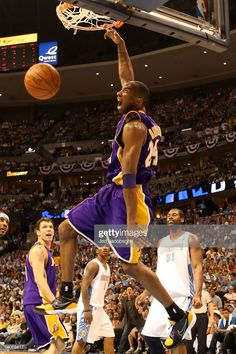 Kobe Bryant of the Los Angeles Lakers dunks the ball in the second half against the Denver Nuggets in Game Six of the Western Conference Finals during the 2009 NBA Playoffs at Pepsi Center on May Get premium, high resolution news photos at Getty Images Dear Basketball, Basketball Players, College Basketball, 2004 Nba Finals, All Nba Teams, Pepsi Center, Kobe Bryant Pictures, Kobe Bryant Nba, Kobe Bryant Black Mamba
