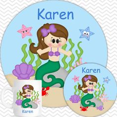 Under the Sea Plate, Bowl, Mug  Set - Personalized Princess Plate Set - Customized Plate, Bowl, Mug - Melamine Plate, Bowl & Set for Kids by sharenmoments on Etsy