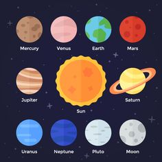 Flat vector icon set of solar system planets, sun and moon on dark space background