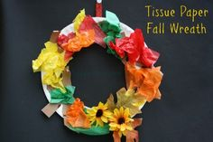 Paper plate, construction paper and tissue paper wreath