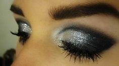 Pretty black & glitter silver eye make up