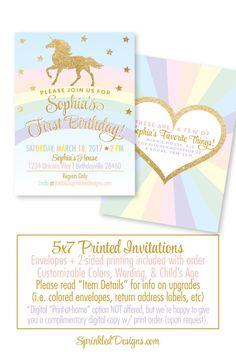 Rainbow Unicorn Birthday Invitation Cards - Girls Magical Unicorn Party Gold Glitter - Printed Unicorn Birthday Party Invites - SprinkledDesigns.com