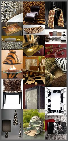 """Animal Print Decor - latest patterns and trends"" -- great post with details and more photos for each of the trends shown, from walls, rugs, and bathrooms to fireplaces, furniture, and accessories -- even an animal print house!"