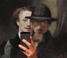 """""""L'arte sconvolge, la scienza rassicura.""""  Autoritratto in compagnia di Franz von Lenbach, Hans von Marées."""