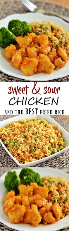 The BEST recipe I've found on Pinterest. This sweet & sour chicken and fried rice tastes better than any restaurants!