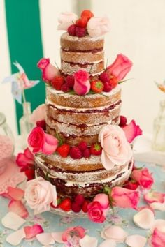 Perfect for a Summer Wedding - An unfrosted cake with beautiful fresh berries and roses. I love the idea of an unfrosted cake but this one is way too frilly! Quirky Wedding, Cool Wedding Cakes, Rustic Wedding, Wedding Ideas, Boho Wedding, Boho Bride, Wedding Inspiration, Wedding Photos, Wedding Simple