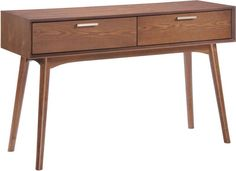 Zuo Modern 100093 Design District Console Table Color Walnut Rubberwood Finish