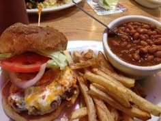 Buffalo Burger W Baked Beans Fries At Thatcher S In Auburn Maine