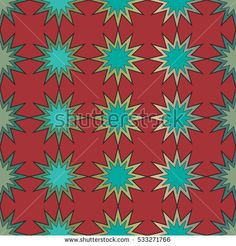 Seamless pattern of bright stars on a red background.