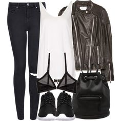 Cora Inspired Outfit with White and Black Roshes by veterization on Polyvore featuring Topshop, MANGO, Cheap Monday, NIKE and Abercrombie & Fitch