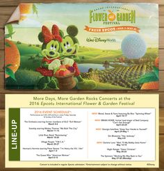 Two more weekends and four new acts join the lineup for this year's Garden Rocks concert series during the Epcot International Flower & Garden Festival! These thirteen bands will take the stage each weekend at America Gardens Theatre from March 2-May 30, 2016.