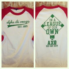 Alpha Chi Omega est. 1885 In a league of our own Alpha Chi Omega - Bid Day 2014 - Lyre - Sorority T-shirts, Greek101