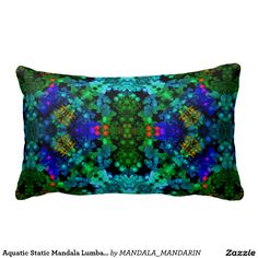Aquatic Static Mandala Lumbar Pillow