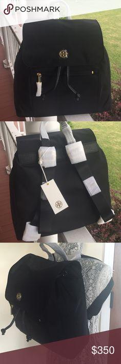 "NWT Torch Burch Travel nylon flap backpack Brand new Tory Burch travel nylon flap backpack. Color black. Dimensions: 12""L X 5""W X 11""H. ❌trade ❌ Tory Burch Bags Backpacks"