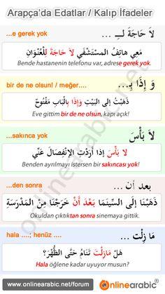 ANESTEK: ARAPÇA KALIPLAR♥ Turkish Lessons, Arabic Lessons, English Language Course, English Language Learning, Learn Turkish Language, Arabic Language, Learning Italian, Learning Arabic, Spoken Arabic