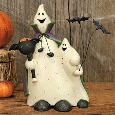 Halloween Ghost Buddies Holding Pumpkin Figurine - Halloween Folk Art & Collectibles by Williraye Studio