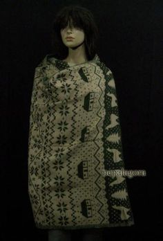 Sw17-Handloom-soft-yak-wool-Winter-wrap-stole-reversible-shawl-scarf-Throw-Nepal