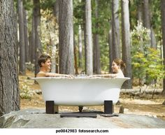 a couple bathing outdoors in the woods - bathtub nude men photos stock pictures, royalty-free photos images Wood Bathtub, Outdoor Bathtub, Clawfoot Bathtub, Outdoor Showers, Stock Pictures, Stock Photos, Man Photo, Royalty Free Photos, Bathing