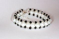White pearls beaded bracelet Handmade pearl beaded bracelet Handmade pearl and Swarovski bracelet Handmade Swarovski bracelet White and blac on Etsy, $16.00