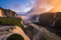 Devil's Throat - The Devil's Throat in Iguazu Falls during a stormy sunset.