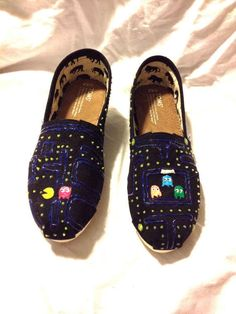 Can't forget the gamers: Pac Man | 25 Beautifully Hand-Painted TOMS For Every Fandom