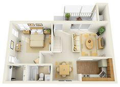 1B 1st Floor Townhome - 3D Floor Plan | Flickr - Photo Sharing!