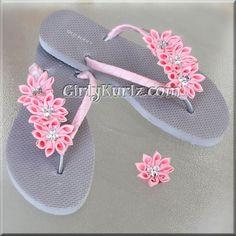 PINK Kanzashi Flip Flops Rhinestone Flip Flops Wedding Flip Flops Beach Flip Flops by GirlyKurlz on Etsy https://www.etsy.com/au/listing/124415559/pink-kanzashi-flip-flops-rhinestone-flip