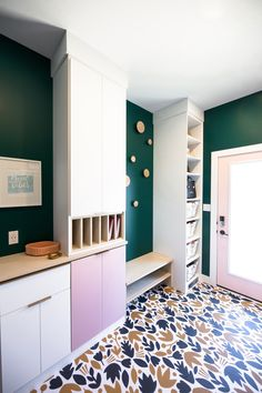 This fun and whimsical mudroom incorporates the owners personality. A bench to put on shoes, a dropzone for phones and keys. A mail or paper organization spot and a place to store loose items in baskets. Room Inspiration, Design Inspiration, California Closets, Drop Zone, Entryway Storage, Paper Organization, Humble Abode, Mudroom, Storage Ideas