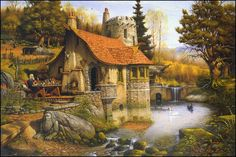 Wizard's Vale ~ Charles Frizzell. http://mydelineatedlife.blogspot.ca/2010/05/merlins-cottage.html