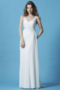 Love this simple wedding dress style with sweep train and v-neck front and back SL023