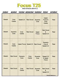 Insanity Chalean Extreme Hybrid Schedule Free Printable Calendar