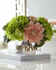 Pale Pink & Green Faux-Floral Arrangement by John-Richard Collection at Neiman Marcus.  I can't believe these are fake- I love this arrangement.