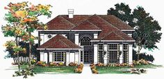 Mediterranean House Plan with 2224 Square Feet and 3 Bedrooms(s) from Dream Home Source | House Plan Code DHSW01848