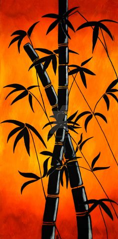 Painted with Acrylic Paints Red Bamboo Shilouette Red Bamboo Graphic Painting. Painted with Acrylic Paints Red Bamboo Shilouette Oil Pastel Art, Oil Pastel Drawings, Art Et Nature, Afrique Art, Silhouette Painting, Arte Obscura, Beginner Painting, Acrylic Painting For Beginners, Easy Acrylic Paintings