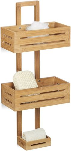 Relaxdays Bamboo Size: 65 x 28 x cm Shelf Wooden Rack with 3 Shelves Shower Baskets for Hanging in the Bathroom Rust-Proof Bath Caddy, Natural Brown, x 28 x 65 cm