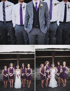groomsmen and bridesmaids - slate gray and deep purple ... just add a hint of peach and a pop of yellow, and it's perfect.
