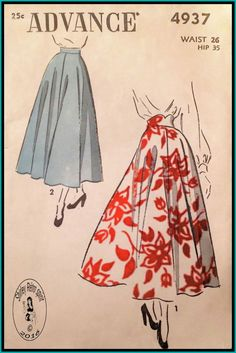 Advance 4937-1948 Vintage Sewing Patterns Advance 1940s Skirts Full Skirts High Waist Flared Skirts