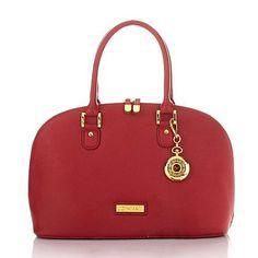 Joy & IMAN 22-Section Luxe Genuine Leather Handbag & Watch - Crimson Red