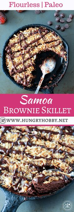 This Flourless Samoa Brownie Skillet is perfect when you want a little dessert around but not an ENTIRE batch of brownies, you feel me? Chewy fudgy brownie topped with date caramel and toasted coconut flakes, it\'s good, REAL good! #hungryhobby #glutenfree #dairyfree  via Hungry Hobby | Dietitian Blogger