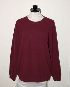 PURE Collection 100% Cashmere Maroon Crewneck Sweater XL #PURECollection #Crewneck