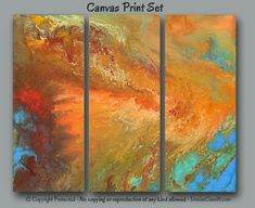 Large abstract canvas art print set designed for fall home or office decor. Artist - Denise Cunniff - ArtFromDenise.com. View more info at https://www.etsy.com/listing/246775541
