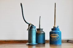 $29.00 #etsy #blue #vintage #oil #cans