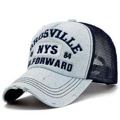 Wholesale adult outdoor casual trucker hats women and men summer letter  embroidery denim wash mesh baseball caps fd7850da4cfa