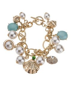 Loving this Goldtone & Pearl Turquoise Celia Bracelet on #zulily! #zulilyfinds