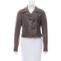 Pre-owned Vince Leather Biker Jacket ($125) ❤ liked on Polyvore featuring outerwear, jackets and grey