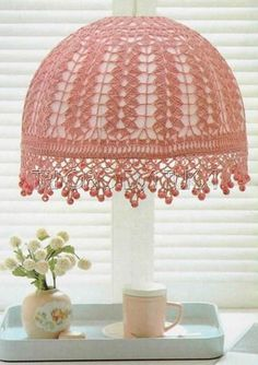 Bohemian DIY Decor: 10 Projects for a Colorful, Layered & Eclectic Look. this Crochet lampshade is really nice! Blog Crochet, Thread Crochet, Crochet Crafts, Crochet Projects, Knit Crochet, Free Crochet, Crochet Lampshade, Crochet Doilies, Lace Lampshade
