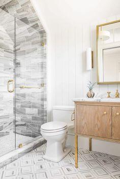 Marble tile enclosed shower